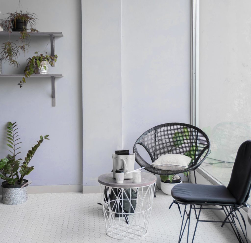 chairs and plants